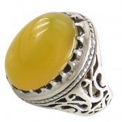 انگشتر عقیق زرد دامله درشت طرح سلطان مردانه