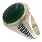 انگشتر عقیق سبز حرز دار طرح رادمهر مردانه