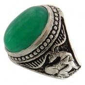 انگشتر عقیق سبز درشت طرح گوزن مردانه