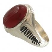 انگشتر عقیق قرمز حرز دار طرح رادمهر مردانه