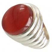 انگشتر عقیق قرمز خوش رنگ یمنی درشت مردانه
