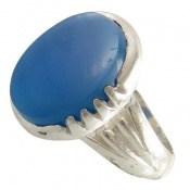 انگشتر عقیق آبی درشت طرح قادر مردانه