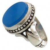 انگشتر عقیق آبی طرح عرفان مردانه