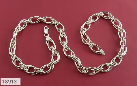 زنجیر نقره 55 سانتی طرح حلقه ای درشت و باشکوه - تصویر 2