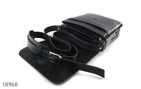 کیف چرم طبیعی مشکی طرح دوشی اسپرت - تصویر 2