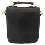 کیف چرم طبیعی مشکی مدل دوشی جیب دار