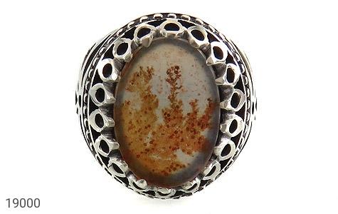 انگشتر عقیق شجری طرح بوته درشت فاخر مردانه - تصویر 2