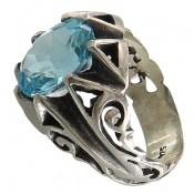 انگشتر توپاز آبی درشت و خوش رنگ مردانه
