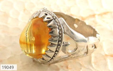 انگشتر کهربا حکاکی یا علی - عکس 1