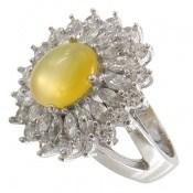 انگشتر عقیق زرد شرف الشمس درشت جواهری زنانه