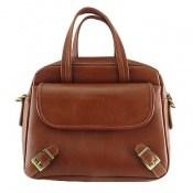 کیف چرم طبیعی قهوه ای روشن بنددوشی و دستی زنانه
