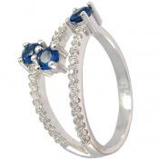 انگشتر نقره یاقوت سنتاتیک طرح 3 نیم حلقه زنانه
