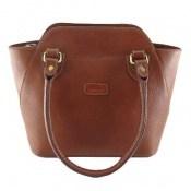 کیف چرم طبیعی قهوه ای روشن مدل دستی سایز بزرگ