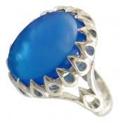 انگشتر عقیق آبی دورچنگ طرح سلطان مردانه
