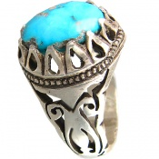 انگشتر فیروزه نیشابوری دورچنگ اشکی مردانه