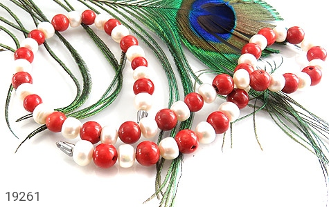 سینه ریز مروارید و مرجان خوش رنگ درشت زنانه - عکس 3