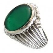 انگشتر عقیق سبز درشت طرح پاشا مردانه