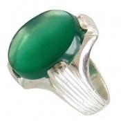 انگشتر عقیق سبز درشت طرح چهارچنگ مردانه