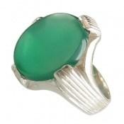 انگشتر عقیق سبز طرح چهارچنگ مردانه