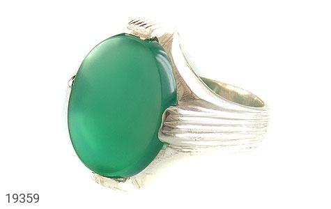 انگشتر عقیق سبز طرح چهارچنگ مردانه - عکس 1