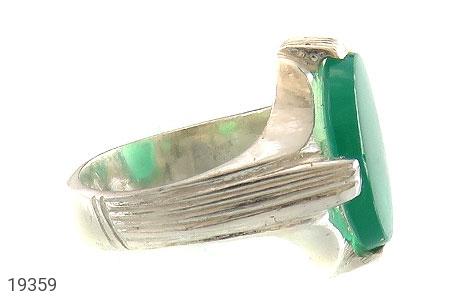 انگشتر عقیق سبز طرح چهارچنگ مردانه - عکس 3