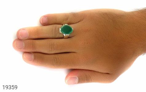 انگشتر عقیق سبز طرح چهارچنگ مردانه - عکس 7