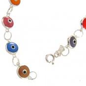 دستبند نقره چشم زخم رنگارنگ زنانه