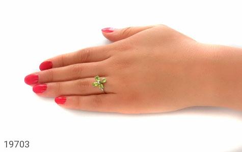 انگشتر زبرجد طرح گل چهارپر زنانه - عکس 7