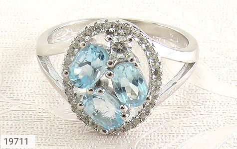 انگشتر توپاز آبی طرح هورتاش زنانه - تصویر 2