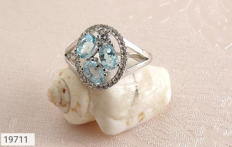 انگشتر توپاز آبی طرح هورتاش زنانه - عکس 5