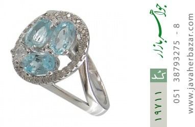 انگشتر توپاز آبی طرح هورتاش زنانه - کد 19711