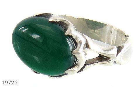 انگشتر عقیق سبز صفوی طرح بهرنگ مردانه - عکس 1