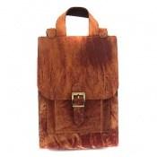 کیف چرم طبیعی قهوه ای روشن طرح ابر وبادی دستی یا دوشی اسپرت
