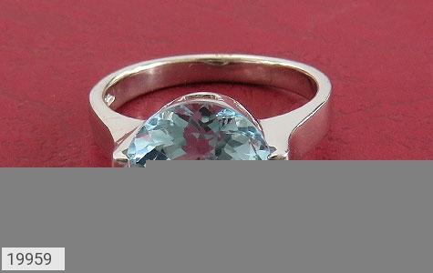 انگشتر توپاز آبی طرح کلاسیک - تصویر 2