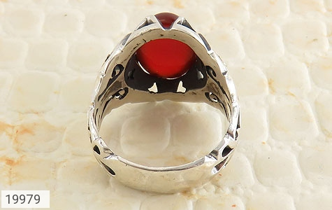 انگشتر عقیق قرمز طرح بهرنگ مردانه - تصویر 4