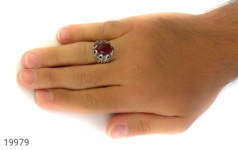 انگشتر عقیق قرمز طرح بهرنگ مردانه - عکس 7