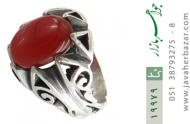 انگشتر عقیق قرمز طرح بهرنگ مردانه - کد 19979