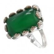 انگشتر عقیق سبز طرح ملیله زنانه