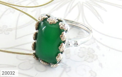 انگشتر عقیق سبز طرح ملیله زنانه - عکس 1