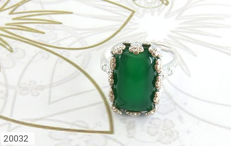 انگشتر عقیق سبز طرح ملیله زنانه - تصویر 2