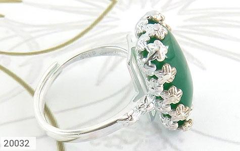 انگشتر عقیق سبز طرح ملیله زنانه - عکس 3