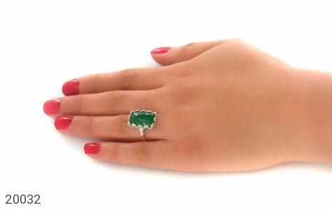 انگشتر عقیق سبز طرح ملیله زنانه - تصویر 6