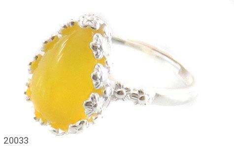 انگشتر عقیق زرد اشکی طرح ملیله زنانه - عکس 1
