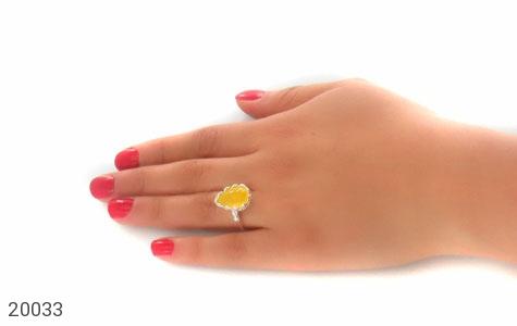 انگشتر عقیق زرد اشکی طرح ملیله زنانه - عکس 7