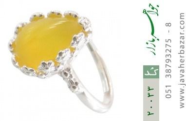 انگشتر عقیق زرد اشکی طرح ملیله زنانه - کد 20033