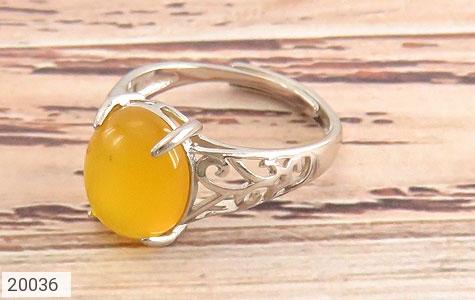 انگشتر عقیق زرد زیبا رکاب فری سایز زنانه - عکس 1