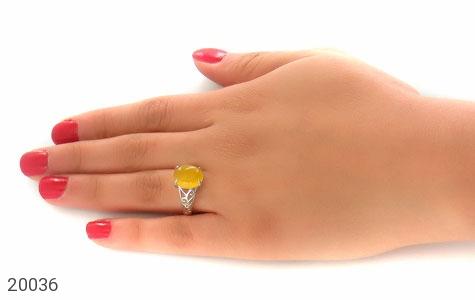 انگشتر عقیق زرد زیبا رکاب فری سایز زنانه - عکس 7