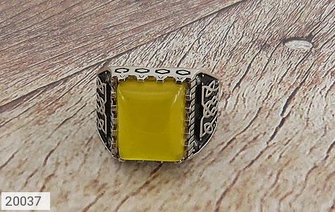 انگشتر عقیق زرد درشت طرح سنتی مردانه - تصویر 2