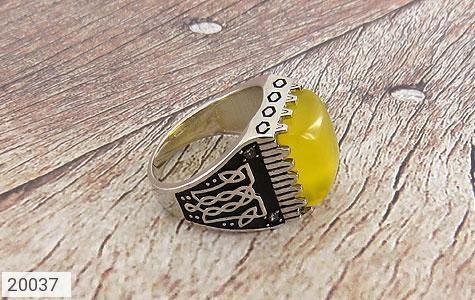 انگشتر عقیق زرد درشت طرح سنتی مردانه - عکس 3