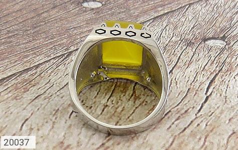 انگشتر عقیق زرد درشت طرح سنتی مردانه - تصویر 4